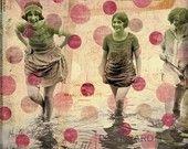 Tiny Spark - Pink Polkadots Mixed Media Collage Art Print via Etsy Art And Illustration, Collage Kunst, Collage Art Mixed Media, Kunstjournal Inspiration, Art Journal Inspiration, Collages, Street Art, Kunst Online, Graffiti Artwork