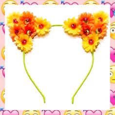 #LUVIT 😻 NEW Neon Emoji Cat Ears 💖 LUV the Winking Emoji Face charms in the daisy centers - so cute! 😉 Available at KittyKatrina.com in our Cat Ear Headbands Section 🌸 #catears #catearsheadband #kittyears #flowercrown #floralcrown #floralheadband #flowerheadband #festivalfashion #festivalstyle #festivaloutfit #festivallook #festivalready #festivalwear #kawaii #kawaiifashion #harajukufashion #harajukustyle #flowerchild #flowerchildren #ravecostume #raveoutfit #ravestyle #ravefashion