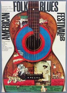 American Folk Blues Festival Original Vintage 1965 German Concert Poster, By Gunther Kieser | http://www.pinterest.com/richtapestry/vintage-posters/