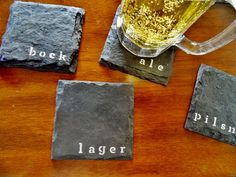 The Beer Slate Coasters (Set of 4) Man Cave, Garage, Fathers Day, Valentines Day on Etsy, $20.00