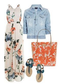 Although I could not pull this look off, this preppy yet elegant outfit is a floral printed, full length, loose dress worn with a light washed denim jean jacket. Topping off this look: a white and orange floral printed bag, and crochet blue bowed sandals.