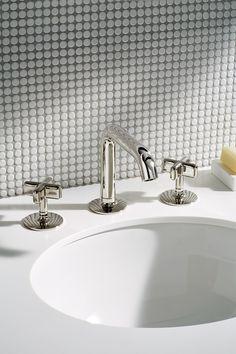 Modern bathroom design penny tile from floor to ceiling in white pennies w Modern Bathroom Faucets, Classic Bathroom, Boho Bathroom, Vintage Bathrooms, Rustic Bathrooms, Modern Bathroom Design, Small Bathroom, White Bathrooms, Guest Bathrooms