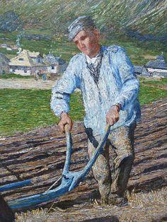 Giovanni Segantini - The ploughing, detail (1890)