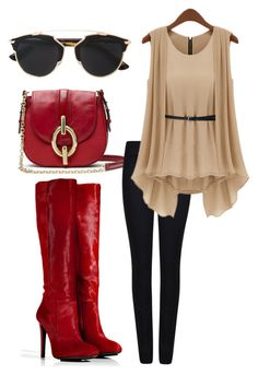 """Red Boots"" by barbi-osa on Polyvore featuring BURAK UYAN, Diane Von Furstenberg, Giorgio Armani and Christian Dior"