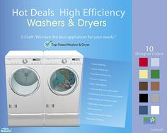 Energy efficient washers and dryers. The washer and dryer are available in 10 designer colors. The set's dryer has spinning clothes animation added. Found in TSR Category 'Objects'