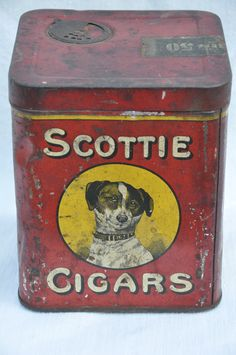 Awesome old Scottie Cigar tin Doesn't really look like a scottie but pinning it anyway!!  :-)