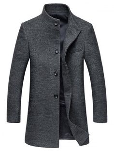 Stand Collar Single-Breasted Back Slit Woolen Coat Mens Wool Coats, Mens Overcoat, Stand Collar Shirt, Collar Shirts, Cheap Winter Jackets, Suit Fashion, Mens Fashion, Fashion Site, Cheap Coats