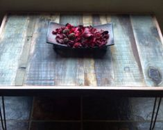 Barn Wood Coffee Table  This stunningly beautiful, modern and rustic mosaic coffee table is made with reclaimed barn wood - showing its naturally
