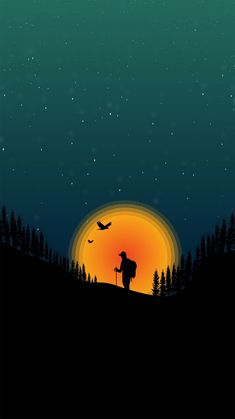 Artist is Hriday Raktim. The artist here used a bright orange to yellow focal point to draw your attention to the shadowed figure and to pop against the dark green-blue sky. Landscape Wallpaper, Scenery Wallpaper, Nature Wallpaper, Landscape Art, Wallpaper Backgrounds, Iphone Wallpaper, Screen Wallpaper, Mobile Wallpaper, Mkbhd Wallpapers