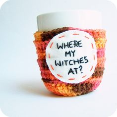 Witch Coffee Mug Cozy Tea Cup Orange Brown Crochet Handmade Cover ($16) ❤ liked on Polyvore featuring home, kitchen & dining, drinkware, cozies, drink & barware, home & living, silver, tea mug, coffee mugs and orange coffee mug