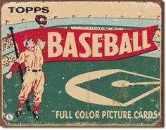 1954 Topps Baseball Vintage Tin Sign
