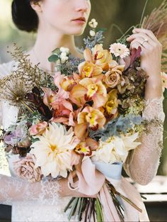 Apricot, Taupe, and Sage Bridal Bouquet designed by Kerry Patel Designs, Nicole Perrone Photography | Wedding Sparrow