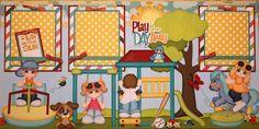 ELITE4U JULIE CHILD SUMMER premade scrapbook Layout pages album paper piecing