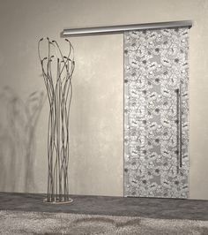 Sliding Door, glamour design, flowers, glass