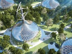 45 futuristic energy efficient villas in Kunming, Southwest China, designed by Vincent Callebaut Architecture, produce more energy than they consume. Architecture Durable, Futuristic Architecture, Amazing Architecture, Architecture Design, Kunming, Vincent Callebaut, Mountain Villa, Fachada Colonial, Eco City