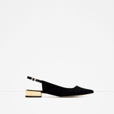 Image 1 of GOLDEN HEEL LEATHER SHOES from Zara