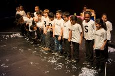 The cast of 2012 winning play, The Last Word, in the category 'Plays for Young Performers'. The children are from Gallions Primary School and are in Year 4.