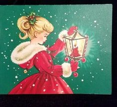 Old Christmas Card — Sweet Girl in a Red Coat, Vintage Christmas Images, Christmas Scenes, Old Fashioned Christmas, Christmas Past, Retro Christmas, Vintage Holiday, Christmas Pictures, Christmas Holidays, Christmas Card Images