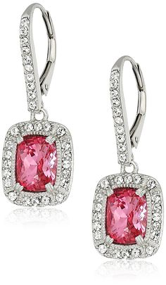 Platinum-Plated Swarovski Crystal Rose Emerald-Cut Lever back Earrings >>> Be sure to check out this awesome product. (This is an affiliate link and I receive a commission for the sales)