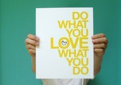 inspirational art print do what you love modern yellow typography quote home office studio decor 8x10