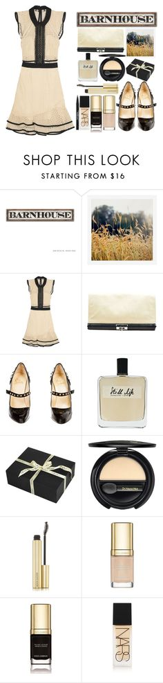 """Barnhouse Wedding Guest"" by juliehalloran ❤ liked on Polyvore featuring Pottery Barn, self-portrait, Dries Van Noten, Christian Louboutin, Olfactive Studio, Amara, Dr.Hauschka, Kevyn Aucoin, Dolce&Gabbana and NARS Cosmetics"