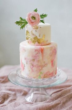 Wedding Cakes : Picture Description Pink and gilded watercolor wedding cake: www. Gorgeous Cakes, Pretty Cakes, Cute Cakes, Amazing Cakes, Watercolor Wedding Cake, Pink Watercolor, Bolo Floral, Mini Wedding Cakes, Wedding Paper