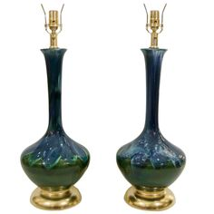 Blue and Green Glazed Table Lamps with Gilt Base | $3,450 | From a unique collection of antique and modern table lamps at https://www.1stdibs.com/furniture/lighting/table-lamps/