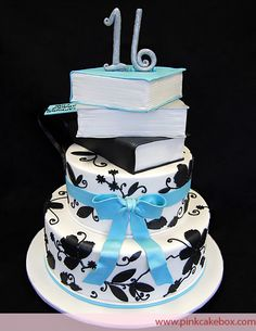 For this sweet 16 cake we created a book theme to celebrate Steffany's love of reading. The invitation had black floral designs which we incorporated into