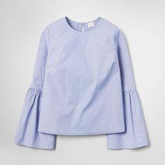 Women's Striped Bell Sleeve Poplin Top - A New Day™ Light Blue : Target