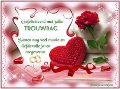 Gefeliciteerd met jullie trouwdag Birthday Celebration, Beautiful Flowers, Place Cards, Place Card Holders, Christmas Ornaments, Holiday Decor, Celebrations, Beauty, Seeds