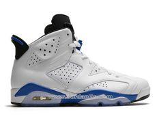 """newest b44bc bec7c Air Jordan 6 Retro """"Sport Blue"""" Color  White Sport Blue-Black   Style Code   384664-107 Chaussures Basket Ball Pour Homme Air Jordan 6 VI Retro 2014  Sport ..."""