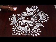 beautifull star kolam with dots for friday * friday star muggulu designs * simple & easy muggu Rangoli Designs Latest, Rangoli Kolam Designs, Rangoli Ideas, Kolam Rangoli, Beautiful Rangoli Designs, Smocking Tutorial, Indian Rangoli, Muggulu Design, Needlepoint Stitches