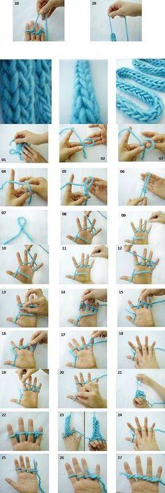 Knitting on the fingers / Knitting /