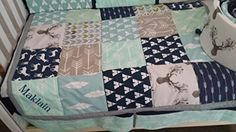 Woodland 1 to 3 Piece baby girl or boy nursery crib bedding Quilt, bumper, and bed skirt, Buck, deer, fawn, head silhouette, Arrow, Teepee, Aztec Any color theme available * Continue to the product at the image link. (Amazon affiliate link)