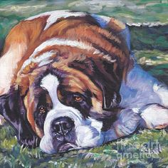 Saint Bernard dog art portrait CANVAS print of LA Shepard painting St Bernard Puppy, Portrait, Aggressive Dog, Dog Paintings, Dog Behavior, Dog Art, Canvas Art Prints, Dog Breeds, Puppies