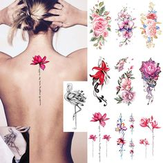 Ooopsi 10 Sheets Large Flower Temporary Tattoos - Sexy Body Tattoo Sticker for Women Girl for Arms Legs Shoulder or Back ** For more information, visit image link. (As an Amazon Associate I earn from qualifying purchases)