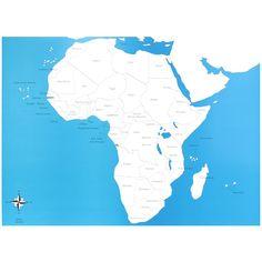 Lámina de control con el mapa de África con los nombres de los países en inglés. Este material de lametodología Montessori,es perfecto para que los niños aprendan los nombres de los diferentes países del continente africano,así como la forma que tienen y la ubicación donde se encuentran. Ideal para usar junto con el puzle de madera del continente de África, que se vende por separado. Edad recomendada: a partir de 3 años. Medidas:  Largo: 53,5 cm. Ancho: 41 cm.