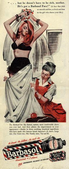 Vintage ads for Barbasol shaving foam for men, 1940s