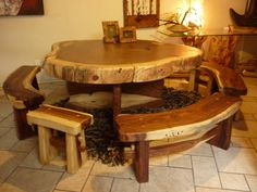 Get woodworking plans that comes with step-by-step instructions and detailed photos. Rustic Log Furniture, Driftwood Furniture, Live Edge Furniture, Do It Yourself Furniture, Wooden Pallet Furniture, Wood Home Decor, Handmade Furniture, Dinning Room Tables, Wooden Dining Tables