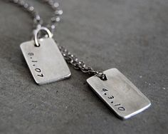 Discreet Double Dog Tag Rustic Necklace - Personalized with Names, Date or Initials. Family Necklace, Father's Day, Gift for Dad. Diamond Choker Necklace, Cluster Necklace, Men Necklace, Dog Tag Necklace, Gifts For Dad, Fathers Day Gifts, Family Necklace, Chains For Men, Stamped Jewelry