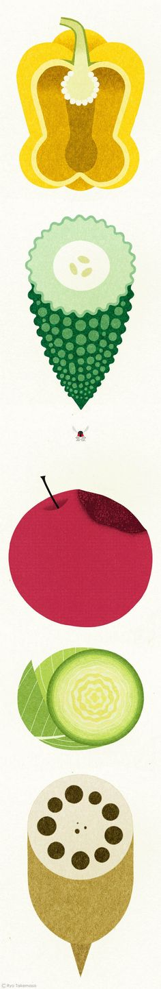 Wonderful fruit & veggie illustrations by Ryo Takemasa