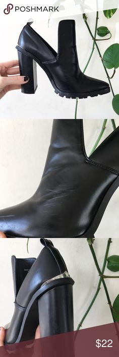 Asos Edgy heeled booties Asos Size 4 ALL MY LADIES WITH THE SMALL FEET STAND UP! About 4 inch heel. Pointed toe black booties. Edgy and hot. Has some minor scuffs on sides. Very faint. Bottoms look brand new. Asos Shoes Heeled Boots