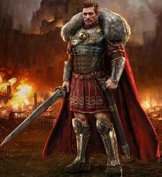 m Fighter noble Heavy Armor Cloak Greatsword battle urban town fire Attack story lg Fantasy Art Men, Fantasy Armor, Medieval Fantasy, Imperial Legion, Imperial Skyrim, Character Design, Character Art, Roman Armor, Roman Warriors