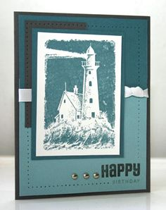 Blue Lighthouse by annascreations - Cards and Paper Crafts at Splitcoaststampers Masculine Birthday Cards, Masculine Cards, Pinterest Cards, Nautical Cards, High Tide, Man Birthday, Card Sketches, Beach Themes, Lighthouse