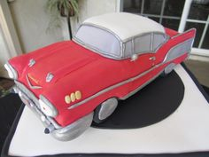 57 Chevy Bel Air cakepins.com August Birthday, 70th Birthday, Cupcakes, Cupcake Cookies, Car Cake Tutorial, 1957 Chevy Bel Air, Car Chevrolet, Cool Birthday Cakes, 4x4