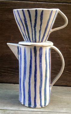 Image of striped two cup drip coffee pot  Paula Greif
