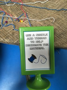 Fine motor activity: Threading using hessian, wool and matchsticks as needles