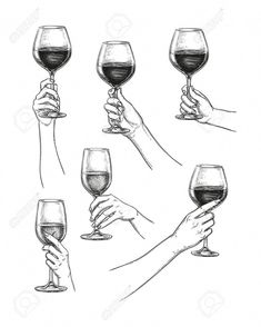 Hands holding glasses of wine. Ink sketch collection isolated on white background. Hand Drawing Reference, Art Reference Poses, Body Drawing, Figure Drawing, Wine Glass Drawing, Wine Tattoo, Hand Pose, Creation Art, Hand Sketch