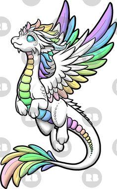 'Rainbow Angel Dragon' Sticker by Rebecca Golins Drawing Tips dragon drawing Easy Dragon Drawings, Cute Dragon Drawing, Easy Drawings, Cute Dragon Tattoo, Dragon Sketch, Angel Drawing, Cute Animal Drawings, Kawaii Drawings, Art Drawings Sketches
