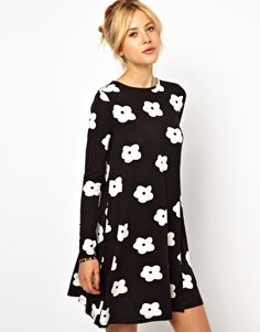 ASOS Swing Dress In Monochrome Flower Print- cute super mod.  Not normally my look, but I love the swingy skirt!